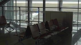 Tom avvikelsevardagsrum på flygplatsen stock video