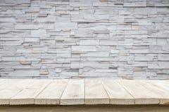 Tom bästa trätabell och naturlig bakgrund för stenvägg Arkivfoton