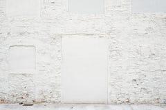 Tom bakgrund för abstrakt tappning Foto av gammal vit målad textur för tegelstenvägg Vit tvättad brickwallyttersida Royaltyfria Foton
