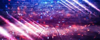 Tom bakgrund för tegelstenvägg, nattsikt, neonljus, strålar celebratory bakgrund rök vektor illustrationer