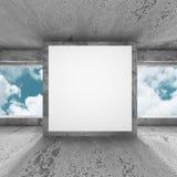 Tom baneraffischtavla för vit på betongväggen Royaltyfria Foton
