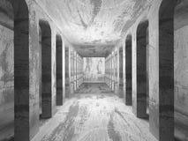 Tom betongväggruminre Abstrakt arkitekturbackgr Arkivfoto