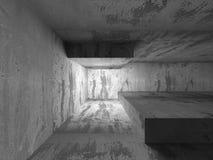Tom betongväggruminre Abstrakt arkitekturbackgr Fotografering för Bildbyråer