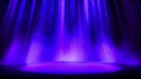 Tom blå purpurfärgad plats på att blänka bakgrund, ställe som tänds av den mjuka indigoblå strålkastaren, fallande skinande mouss royaltyfri illustrationer