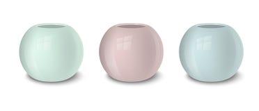 Tom blomkrukauppsättning för realistisk vektor, pastellfärgade färger - rosa färger, gräsplan och blått Closeup på vit bakgrund Arkivbild