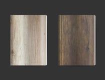 Tom bokomslagdesign för vektor med wood texturbakgrund Arkivfoto