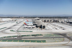 Tom Bradley Terminal at LAX. Large planes lined up at the newly renovated Tom Bradley terminal at LAX Stock Photo