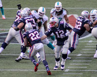 Tom Brady hands off to Stevan Ridley Stock Photography