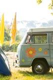 Tom campingplats på musikfestivalen arkivfoto