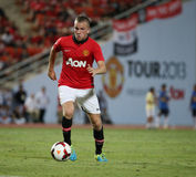 Tom Cleverley of Man Utd. Bangkok - July 13:Tom Cleverley of Man Utd. in action during Singha 80th Anniversary Cup Manchester United vs Singha All Star at Stock Photos