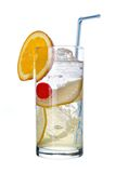Tom Collins. Long drink Tom Collins with orange slice , isolated on white Royalty Free Stock Images