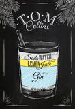 Tom Collins cocktail chalk. Tom Collins cocktail in vintage style stylized drawing with chalk on blackboard Stock Photo