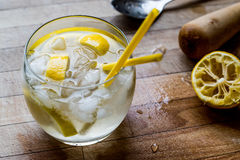Tom Collins Cocktail with lemon and ice. Beverage Concept Royalty Free Stock Image