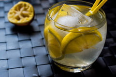 Tom Collins Cocktail med citronen och is Fotografering för Bildbyråer