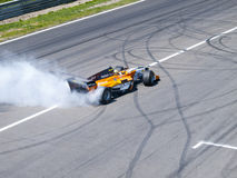 Tom Coronel burns some rubber Royalty Free Stock Photo