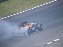 Tom Coronel burns some rubber Royalty Free Stock Photography