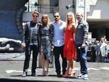 Tom Cruise, Sofia Boutella, Jake Johnson, Annabelle Wallis, Alex Kurtzman. At Universal Celebrates `The Mummy Day` With 75-Foot Sarcophagus Takeover At Royalty Free Stock Image