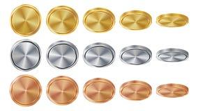 Tom 3D guld, silver, brons myntar den tomma uppsättningen för vektorn Realistisk mall Flip Different Angles Investering rengöring vektor illustrationer
