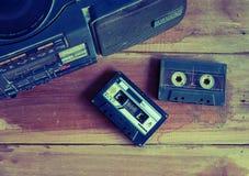 tom da cor do vintage da cassete de banda magnética e do jogador Fotografia de Stock Royalty Free