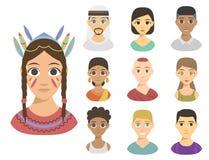 Tom de pele diferente da afiliação étnica diferente fresca dos retratos dos povos das nações dos avatars ilustração royalty free