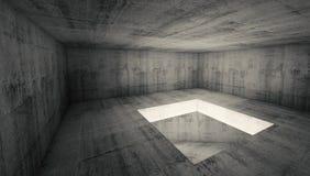 Tom för betongrum för mörker 3d inre med det fyrkantiga hålet royaltyfri illustrationer