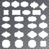 Tom försäljnings- eller gåvaetikettsuppsättning Hängningetiketter på genomskinlig bakgrund Rektangulär, stjärna- och emblemform Royaltyfri Fotografi