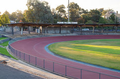 Tom Flood Sports Centre in Bendigo, Australia. Bendigo, Australia - April 15, 2017: Tom Flood Sports Centre is an athletics track in central Bendigo. It is a Stock Photography