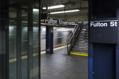 Tom fulton för tunnelbanastation gata New York City royaltyfri fotografi