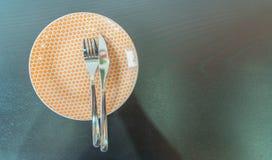 tom gaffelkniv för maträtt Arkivbilder