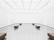 Tom galleriinre med vit kanfas 3d Arkivfoto