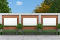 Tom gataaffischtavla på tegelsten och betongväggen stock illustrationer