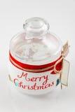 Tom glass krus för kakor julen dekorerar nya home idéer för garnering till Selektivt fokusera Royaltyfri Fotografi