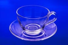 tom glass saucer för kopp Royaltyfri Foto