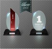 Tom glass utmärkelsetrofé på en genomskinlig bakgrund Glass hylla Royaltyfria Bilder