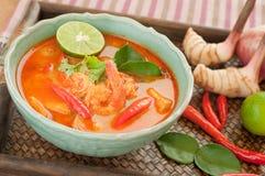 Tom Goong Tajlandzka kuchnia Yum, krewetki polewka z lemongrass. Zdjęcie Royalty Free