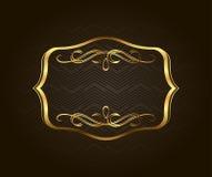 Tom guld- tappningram, baner, etikett, vektor EPS10 Guld- dekorativt med stället för text vektor illustrationer