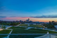Tom Hanafan River`s Edge Park Council Bluffs Iowa. At night with Omaha waterfront in the distance. This park is along the Missouri river stock photography