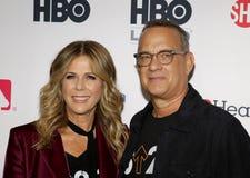 Tom Hanks en Rita Wilson stock foto's