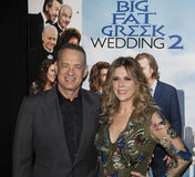 Tom Hanks and Rita Wilson. Oscar-winning actor Tom Hanks and wife, actress, singer, and producer Rita Wilson, arrive at the New York City premiere of Universal Stock Photo