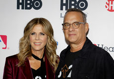 Tom Hanks and Rita Wilson. At the 5th Biennial Stand Up To Cancer held at the Walt Disney Concert Hall in Los Angeles, USA on September 9, 2016 Royalty Free Stock Photography