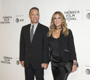 Tom Hanks and Rita Wilson at the 2017 Tribeca Film Festival Premiere of `The Circle`. Stylish Hollywood power couple, Oscar winning actor Tom Hanks and singer Royalty Free Stock Photography