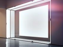 Tom inomhus affischtavla i det mörka rummet med ljus på ramen framförande 3d royaltyfri illustrationer