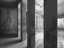 Tom inre för mörkerbetongrum Stads- bakgrund för arkitektur Arkivbilder