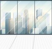 Tom inre för modernt panorama- kontor vektor illustrationer