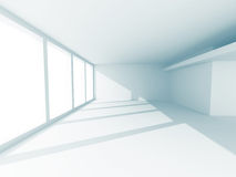 Tom inre för vitt rum med fönstret Arkivbild