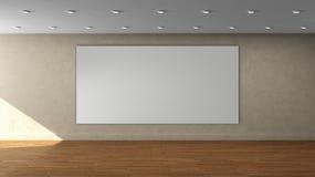 Tom inre mall för hög upplösning med den rektangulära ramen för vit färg på den främre väggen Arkivfoton