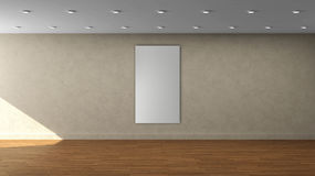 Tom inre mall för hög vägg för upplösning beige med den vertikala ramen för enkel vit färg på den främre väggen Royaltyfri Foto
