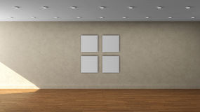 Tom inre mall för hög vägg för upplösning beige med den vita fyrkantramen för färg 4 på den främre väggen Arkivfoton