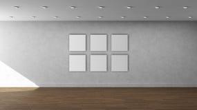 Tom inre mall för hög vägg för upplösning vit med 6 vita färgfyrkantramar på den främre väggen Royaltyfri Foto