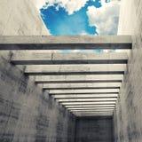 Tom inre med betongväggar, strålar och molnig himmel royaltyfri illustrationer